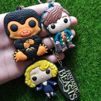 Wholesale Metal Men Movie - New Movie Fantastic Beasts Keychain Newt key chains Fantastic Beasts Them Pendant Queenie Key Ring drop ship 170705