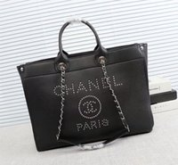 Wholesale leather hobo shopping bags online - 5A Quality Black Caviar Leather Large Shopping Tote cm Women Vintage Shoulder Bag with Rivet Good Price