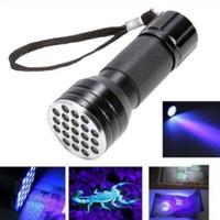 Wholesale 21 Led Flashlight - 21 LED UV Ultra Violet Mini Torch Light Lamp Aluminum Blacklight Money Detection Flashlight Party Favors CCA8540 50pcs