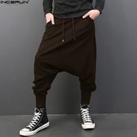 calças de virilha folgado homens venda por atacado-INCERUN Big Drop Virilha Homens Calças Hiphop Baggy Harem Calças Dos Homens Corredores de Cintura Elástica Sweatpants Calças Dançando 5XL Plus Size