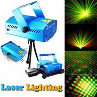 mini dj luz venda por atacado-150 MW Mini Red Verde Partido Em Movimento azul / preto corpo Laser Stage Light laser DJ party luz Twinkle Com tripé conduziu a lâmpada de palco