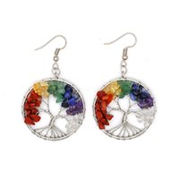 Wholesale Retro Tree of Life Charm Earrings Natural Stone Silver Alloy Earring Trees Fashion Women Ladies Opal Gemstone Crystal Jewellry