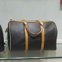 велюровая обивка оптовых-Высокое качество классический 7A регата коричневый KEEPALL VOYAGER подлинной окисленной кожи мужская дорожная сумка выходные вещевой сумки большой багаж сумки