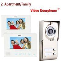 семейство телефонов оптовых-Best 7'' wired color video door phone Intercom System 1 Doorbell Camera+2 Waterproof Monitors For 2 Apartments/Family 811WMC12