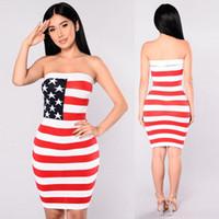 0419e4b03d4 2018 Women casual dress American flag printing bodycon dresses Fashion sexy  slash neck off shoulder club bandage dress S-2XL