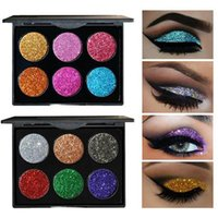 Wholesale Rainbow Magnets - 6 Color Glitter Injections Pressed Glitters Single Eyeshadow Diamond Rainbow Make Up Cosmetic Eye shadow Magnet Palette MH1083A MH1083B