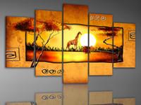 melhores pinturas artesanais venda por atacado-Handmade pintura abstrata africano paisagem do sol pintura a óleo da lona moderna da parede da lona de arte pinturas a óleo quarto melhor qualidade de pintura