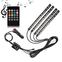 Wholesale led interior light strips - 4 In 1 Car LED Strip Light 48 LED Sound Active and Wireless Remote Control RGB Colors Changing Music Car Interior Lights DC 12V Waterproof