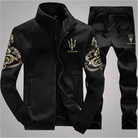 conjunto de chándal de marca de hombres al por mayor-Diseñador chándal de los hombres de lujo trajes de sudor marca de otoño para hombre Jogger trajes chaqueta + pantalones conjuntos traje deportivo Hip Hop establece alta calidad