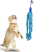 Wholesale Pole For Fishing - cat teaser with flexibale plastic pole stick blue fish ring ball interactive full funny for kitten pet supply