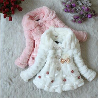 hot sale 2018 new girl parkas coat bow lace faux fur warm overcoat for 2-7yrs girls children kids thick Winter outerwear clothes