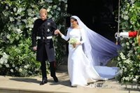 Wholesale prince weddings - 2018 New Arrival Prince Harry&Meghan Markle Wedding Dresses Bateau Neck Long Sleeves Satin Bridal Gowns Long Sweep Reain