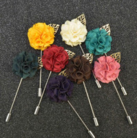 Wholesale red fabric flower pin - 9 Color Men Brooches Flower Lapel Pin Suit Boutonniere Fabric Yarn Pin Button Stick Flower Brooches For Wedding
