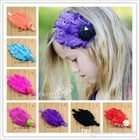 Wholesale pearl hair ornaments - New Baby girls feather Headbands Hand made Rose pearl feather Ornaments hairbands Kids headwear Children hair accessories 15 colors KHA33