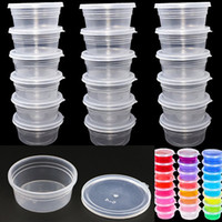 Wholesale mud clay resale online - DHL White Round Slime Foam Mud Storage Containers With Lid g Beads Slim Clay And Colorful Storage Organizer Plastic Packing Box WX9