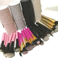 Wholesale cylinder pc resale online - 12 Cylinder Makeup Brushes Sets Black Pink Professional Face Foundation Lip Eye shadow Brush Kit Make up Brushes with Cup Holder Case