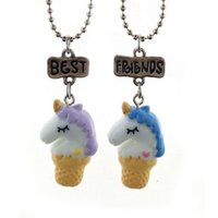 Wholesale ice resin - New Best Friends Ice Cream Unicorn Necklace Couple Necklaces for Women Kids Fashion Jewelry Gift Drop Shipping