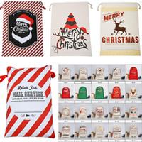 toy santa ren geyiği toptan satış-2018 Yeni Noel Hediye Çanta 50 * 70 cm Büyük Tuval Çanta Santa Sack Reindeers Ile Noel Baba Çuval Çanta İpli çanta oyuncak Almak çanta