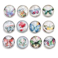 Wholesale glass butterfly beads - Fashion 18mm Glass Crystal Rivca Snaps Button Gemstone Butterfly Flower Noosa Chunks Strands Bracelets Necklace Charm Beads