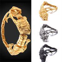 Wholesale tibet cuff bracelets - U7 Jewelry Stainless Steel Cool Tiger Design Cuff Bracelet 18K Gold Plated Black Gun Plated Men's Biker Jewelry GH2700