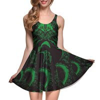 ingrosso maglia verde per le ragazze-NUOVO 1108 Plus size Summer Dress Dress Green Dragon Dragon Cthulhu 3D Prints Reversibile Vest Skater Sexy Girl abito pieghettato