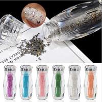 mini-glitzer-flaschen großhandel-1 Flasche Mini Caviar Perlen Kristall Tiny Strass Glas Micro Bead für Nägel DIY Bunte 3D Glitter Nail Art Dekorationen