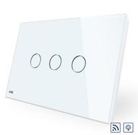 interrupteur de gradateur de lumière blanche achat en gros de-Norme AU / US de haute qualité, commutateur sans fil VL-C903DR-11, écran tactile en verre blanc, gradateur et interrupteur d'éclairage mural à distance