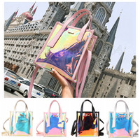 Wholesale wholesale jelly purses handbags for sale - 4styles ins Womens Laser Jelly Holographic Bag Clear Transparent Small Tote Hologram Handbag Purse Laser Cross Body bag FFA616