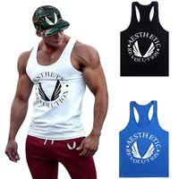 Wholesale racer back tops - Fashion Men Bodybuilding Clothing Tank Tops Gyms Muscle Stringer Singlets Fittnes Vest Shirt Musclewear Y Back Racer B -03