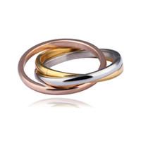 Wholesale women costume classic online - Classic Titanium Steel Rings Originality Women Luxury Brand Wedding Accessories Tricyclic Tricolor Female Twining Rings Fashion lt bb