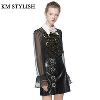 черная полосатая рубашка оптовых-2017 Autumn New Fashion Sets Bow PU Skirt + Sequined Applique Long Sleeve Peter Pan collar Shirt Suits Black / Pink color