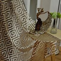 cortinas das salas de estar venda por atacado-Cortinas de voile retro para sala de estar quarto decoração do hotel pura cortina colocação de voile personalizado gaze grade líquida tule cortinas