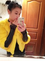 Wholesale sexy leather long gloves resale online - Women Gloves Sexy Lace Female Leather Fingerless Long Glove Sleeves Plus Thick Velvet Black Lightweight Good Quality lq dd