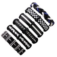 bracelets de charme en cuir en couches achat en gros de-Hommes de mode Muti Bracelet en cuir empilable superposés Bracelets en cuir Vente en gros de votre main Charms Mode environ 50g