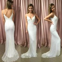 Wholesale wedding dress sequin back strap online - Simple Sequins Spaghetti Straps Mermaid White Wedding Dresses Open Back Floor Length Custom Made Bridal Wedding Dress BA7702