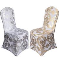 ingrosso rivestimenti per sedie-100PCS Bronzing Chair Cover Elastic Spandex Coverings Gold Printing Flower Sedie per banchetti di nozze 20180511 #
