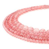 ingrosso agata naturale rotonda-TSunshine Top Quality Natural Cherry Quarzo pietra preziosa rotonda perline sparse per gioielli fai da te fare europeo 1 Strand - 8MM
