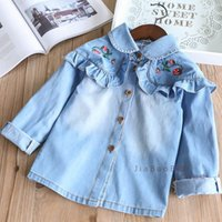 Wholesale Baby Girl Denim Blouse - Spring Kids Girls Denim Ruffles Shirts Baby Girls Embroidery Floral Blouse Babies Fashion Wash Blue Tops 2018 Kids Clothing