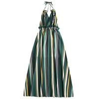 en iyi yaz maxi elbiseleri toptan satış-Toptan Çizgili Ruffled Backless Halter Maxi Elbise Kız Elbise Kadın Rahat Plaj Boho Elbise Yaz Kolsuz Ruffles Vestidos