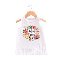 vestido de algodão do bebê venda por atacado-Wild One Cartas Florals vestidos para o bebê Borlas Tassel Tanque vestido de Praia vestido de Verão 2019 100% algodão 1 T 2 T 3 T 4 T atacado