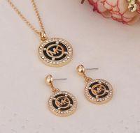 ingrosso set di gioielli-Marca m lettere collana pendente maglione catena orecchini set donne ragazza matrimonio moda accessorio gioielli regalo di compleanno di Natale