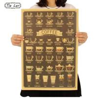 café copo copo venda por atacado-LAÇO LER Coffee Cup Daquan Bares Cozinha Desenho Cartaz Adorno Poster Vintage Retro Adesivo de Parede 51.5X36 cm