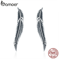 Wholesale winged cuff earrings resale online - Authentic Sterling Silver Vintage Feather Wings Cuff Drop Earrings for Women Sterling Silver Earrings Jewelry SCE258