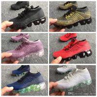 Wholesale pu strip - New VaporMax Airs Vapor 2018 Betrue Strip Kids Running Shoes Rainbow Black Red Kids Sports Sneakers Children Shoes Size 28-35