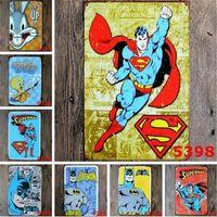 Wholesale batman arts - New SuperHero Batman Chic Home Bar Vintage Metal Signs Home Decor Vintage Tin Signs Pub Vintage Decorative Plates Metal Wall