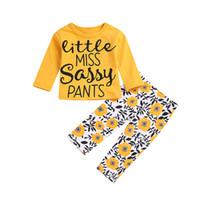 flores de calças amarelas venda por atacado-Bebés Meninas INS Conjuntos Crianças Letras Amarelas de Manga Longa camisetas + Flores Calças 2 pcs Set Nova Criança Toddle Primavera Outono Terno Roupas