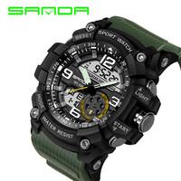 Wholesale Digital Analog Design - 2018 Sanda Design Digital Watch Water Resistant Date Calendar Led Electronics Watches Men Military Army Sport Relogio Masculino