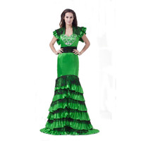 Discount strapless deep v white dress - 2018 New Style Green Satin Ladies Prom Dress Free Jacket Mermaid Design Fashion Long Gown Zip Back