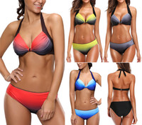 Wholesale colorful swimwear women - 2017 Hot Summer Sexy Women Colorful Bikini Set Rainbow Swimsuit Beach Wear Gradient Color Push Up Swimwear Halter Bathing suits