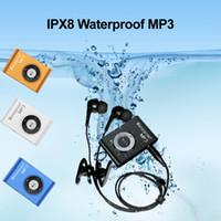 mp3 дайвинг оптовых-IPX8 Водонепроницаемый MP3-плеер Плавание Дайвинг Серфинг 8GB / 4GB Спортивные наушники Музыкальный плеер с FM-клипом Walkman MP3-плеер